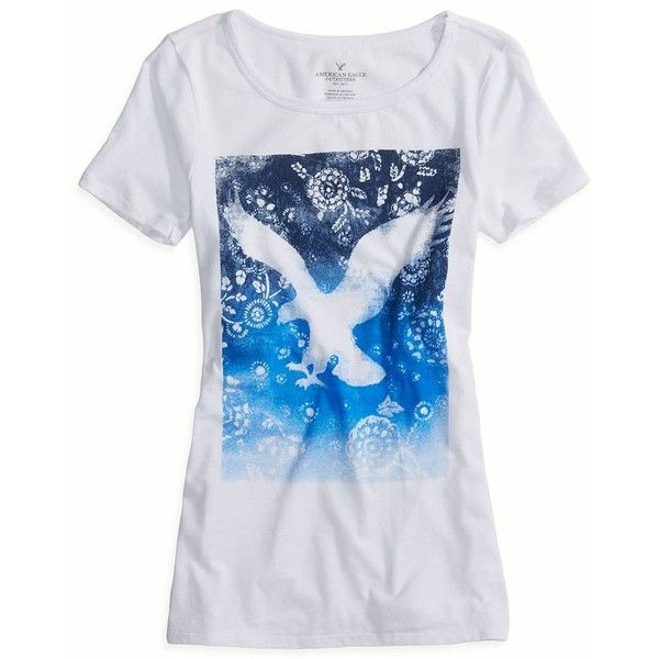 American Eagle Factory Vivid Graphic Scoop T-Shirt, Women's, Size: L, White (16 CAD) found on Polyvore featuring women's fashion, tops, t-shirts, shirts, white, long shirts, long length tops, white scoop neck top, scoop neck shirt and long white shirt