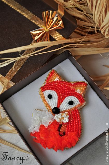 Броши ручной работы. Ярмарка Мастеров - ручная работа Брошь лиса. Рыжая оранжевая брошка лисичка. Handmade.
