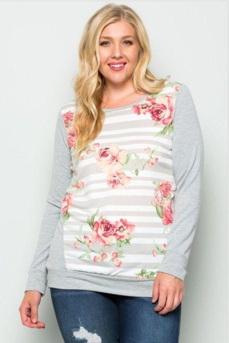 Eli- long sleeve floral stripe terry cloth top