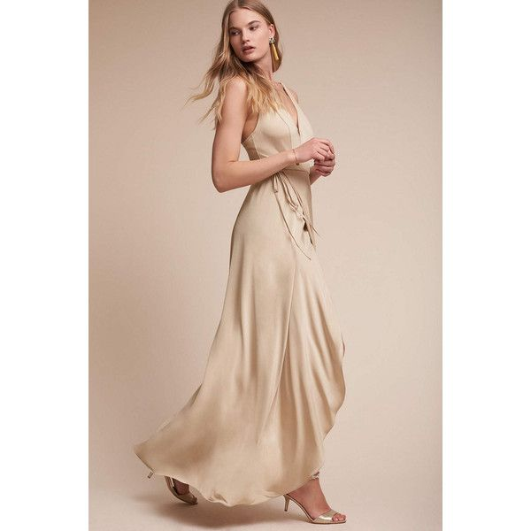 Anthropologie Lily Wedding Guest Dress ($255) ❤ liked on Polyvore featuring dresses, nude, low back dress, short front long back dresses, hi low dress, mullet dress and lily dress