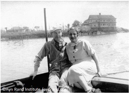Ayn Rand with her husband, Frank O'Connor, in Stony Creek, CT, where he was working in summer stock productions and where she wrote Anthem (1937).