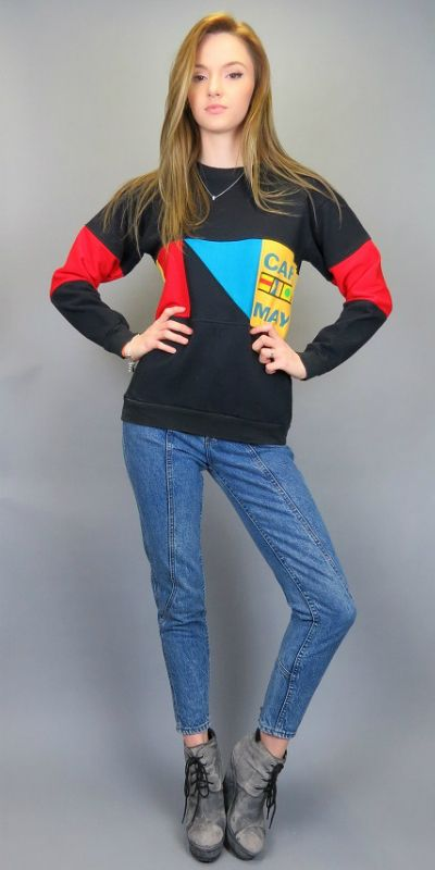 Vintage 80s 90s Color Block Cape May NJ Sweatshirt Geometric Pullover Top Hipster Tourist Shirt New Jersey Retro Beach Travel Indie by BlueFridayVintage on Etsy