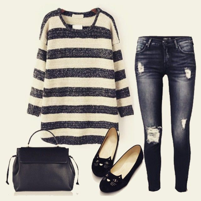 #Striped items are always classic~ SKU: RKNI150904215 Use rins-55 for 55% off on romwe.com! #romwe