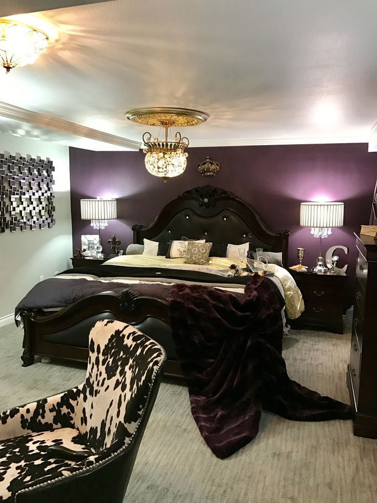 plum silver gold ivory  black master bedroom  black
