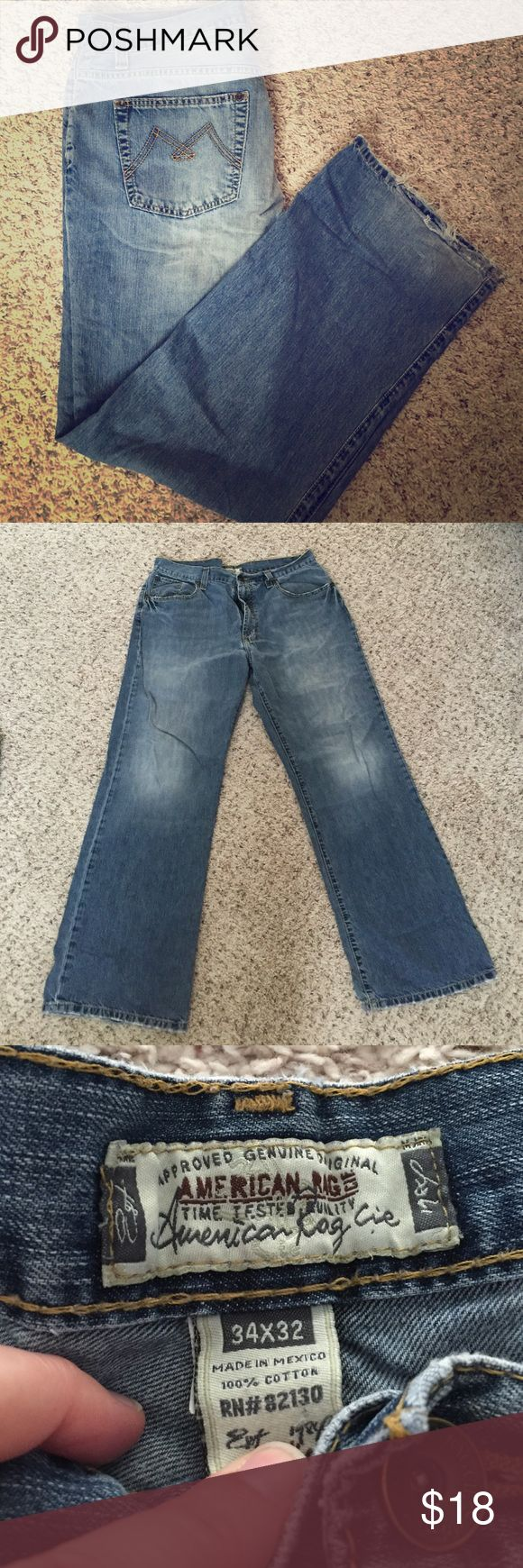 Men's American rag jeans Men's American rag jeans. Lighter wash and wide leg opening. There is wear on the bottom hem. Size 34x32 from a smoke free home American Rag Jeans Straight