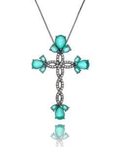 comprar colar crucifixo com zirconia turmalina e banho de rodio negro semi joias religiosas