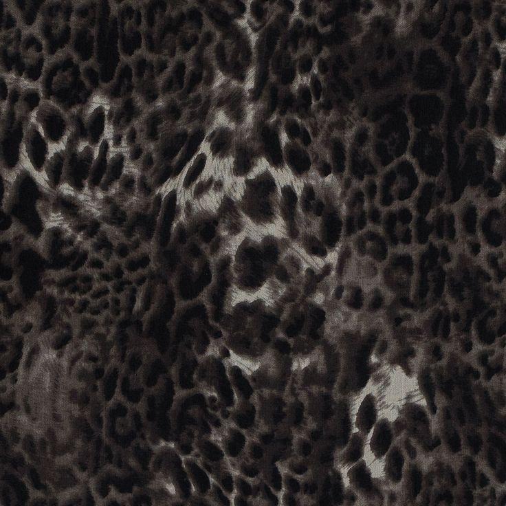 Chocolate Torte Leopard Spotted Silk Chiffon