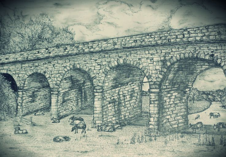 Sketch- Tadcaster viaduct, North Yorkshire, England