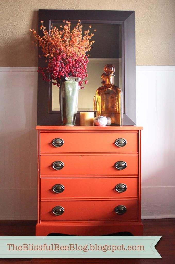 Cute arrangement with bright dresser oversized mirror