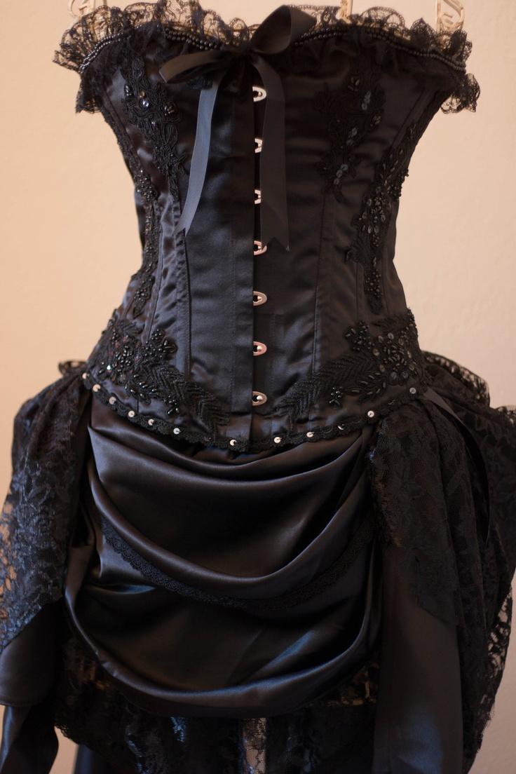 BLACK GYPSY Steampunk Black Burlesque Corset Costume by olgaitaly