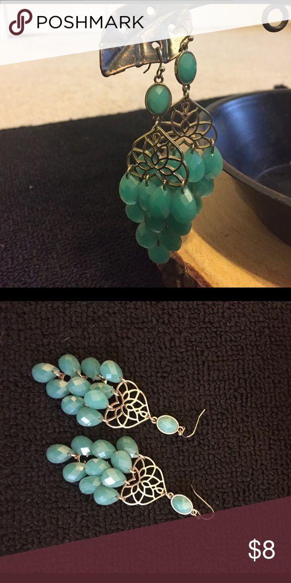 Teal Earrings Teal Chandelier Earrings Jewelry Earrings