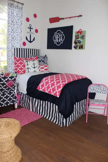 Nautical Navy Pink Coordinating Dorm | Sorority and Dorm Room Bedding