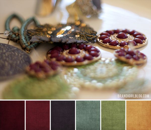 Deep jewel tones combine for a warm, cozy palette for fall.