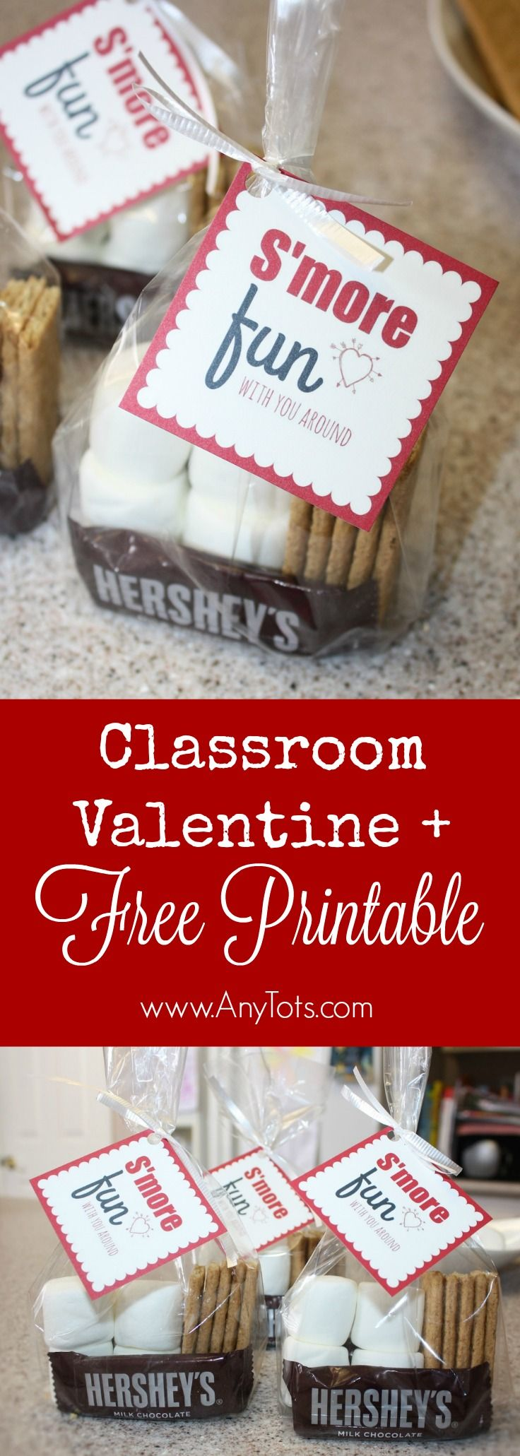 Classroom Valentine Idea with Free Printable Valentine Gift Tag. Which kid wouldn't like S'mores as a Valentine gift. Check it out on the blog, www.anytots.com Don't forget to print the Valentine Free printable to go with it.