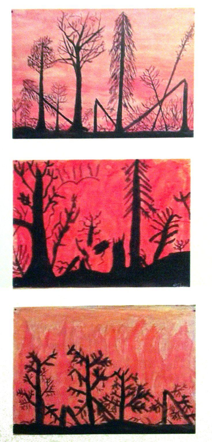 Valööri, punainen. Metsäpalo / auringonnousu / lasku.