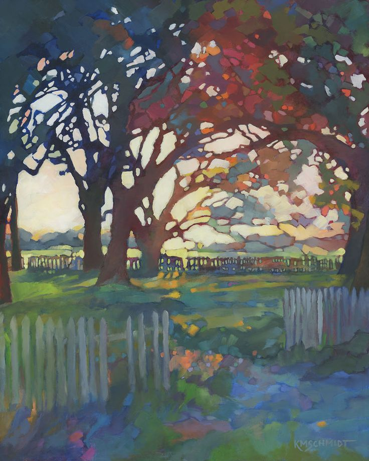 Kmschmidt 20x16 ltd ed landscape art print craftsman style for Garden city trees
