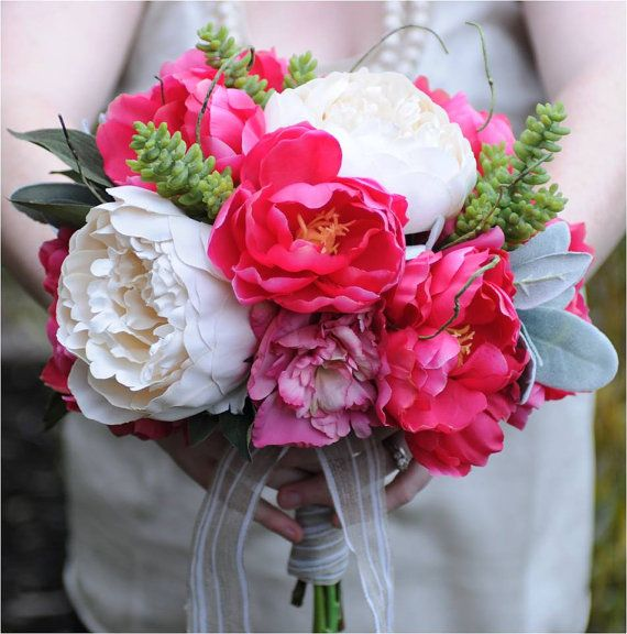 BOUQUET Pink Peonies Garden Roses and Succulents by belfioredesign, $150.00Ideas