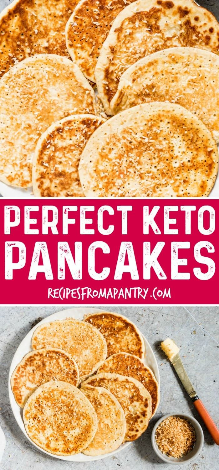 Looking for the perfect keto pancakes? You've found them in this light and fluffy ketogenic pancakes recipe made with cream cheese, almond flour, eggs, vanilla, and nutmeg. Also a gluten free pancakes recipe. #keto #ketodiet #ketorecipes #ketopancakes #ketogenicpancakes #glutenfree via @recipespantry