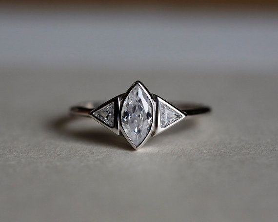 Marquise Diamond Ring Trillion Diamond Ring by CapucinneRings
