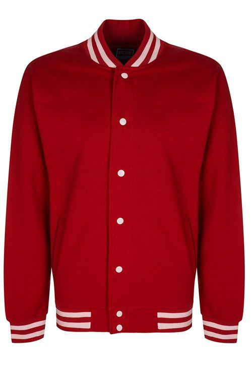 Jachetă roşie Unisex Campus FDM din 80% bumbac şi 20% poliester #jachete #college #rosii #personalizate #brodate #imprimate