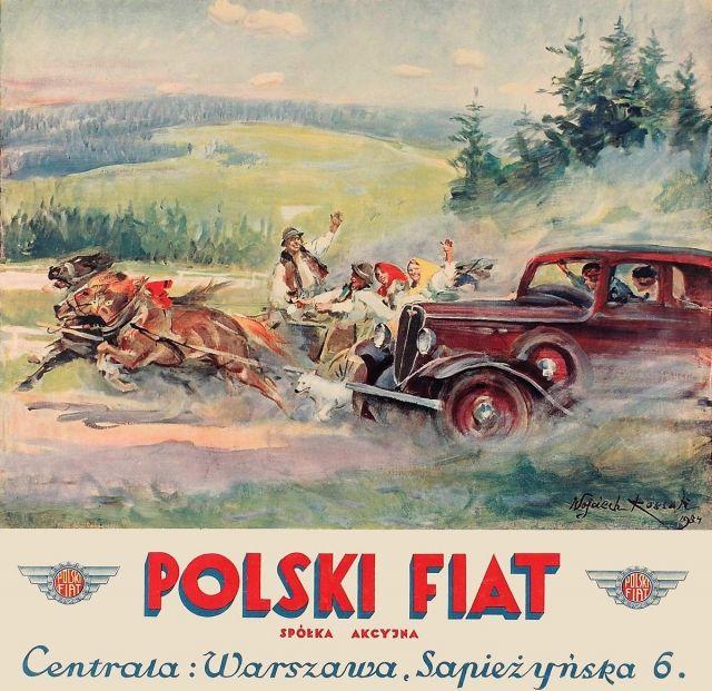 Plakat reklamowy - Polski FIat Przedwojenny polski plakat z czasów II RP