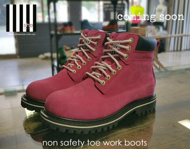 Available in April .. the launch of our very first NON SAFETY toe work boot in hot pink.