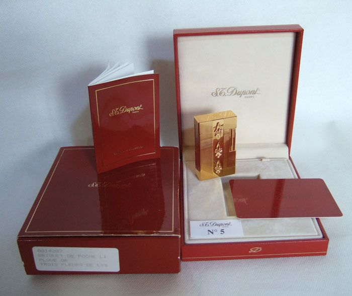 S.T.DUPONT LIGNE 1 PETROL LIGHTER 50th Anniversary (1991) Limited Edition 1000 ex. LILY Gold Plated RARE NMIB