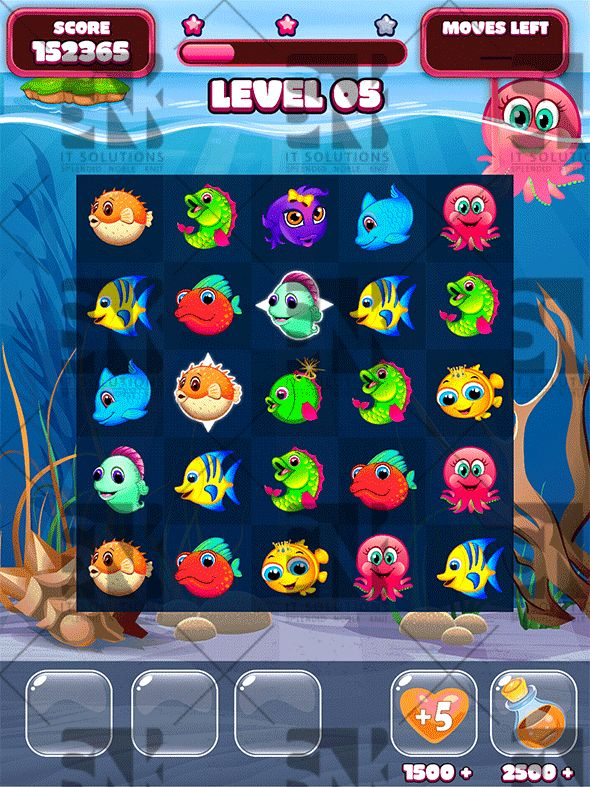 Frenzy Ocean Match-3 Puzzle Game UI Kit (Game Kits)
