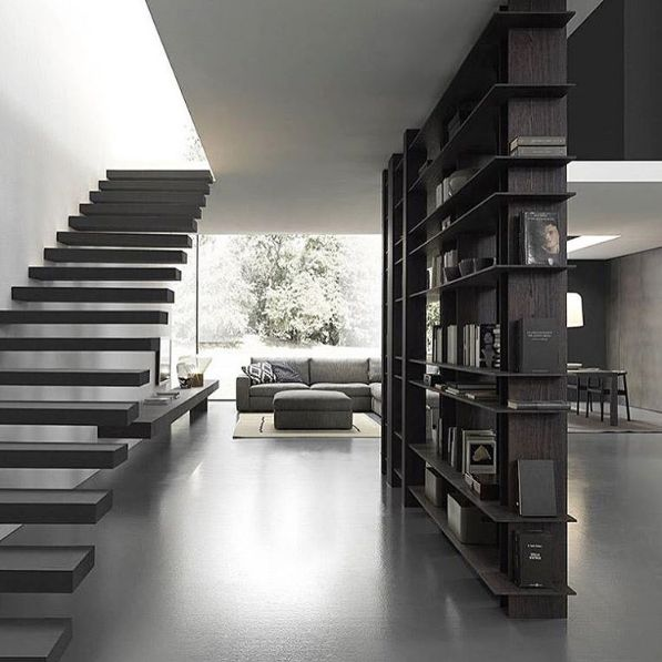 """Stairway to heaven alongside the impressive """"Blade' library divider ... @modulnova  Exclusively available in Australia & NZ through the all new Modulnova Sydney Studio.  A stunning range of design options are available – link in bio."""