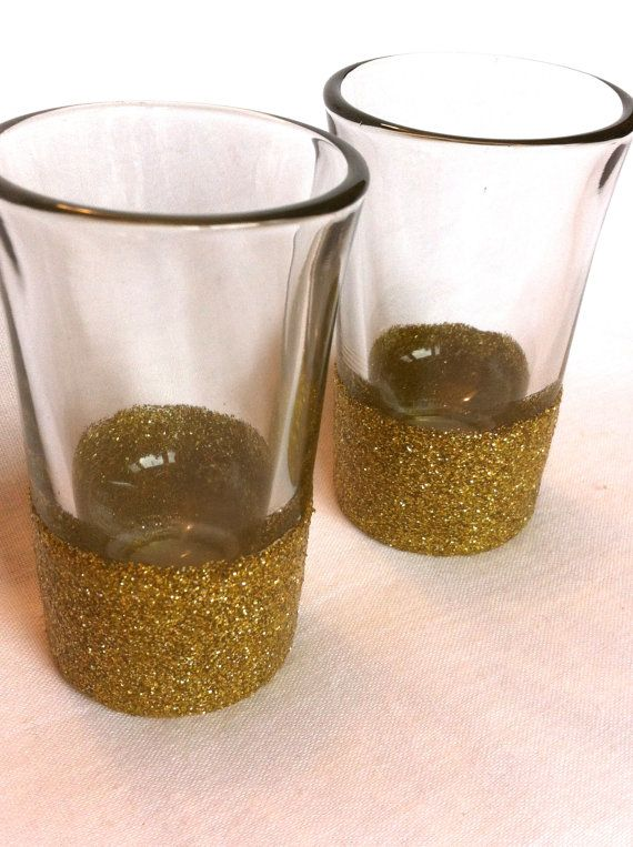 Set of 2 Festive Glitter Dipped Shot Glasses by LilyAndEllieShop, $8.00