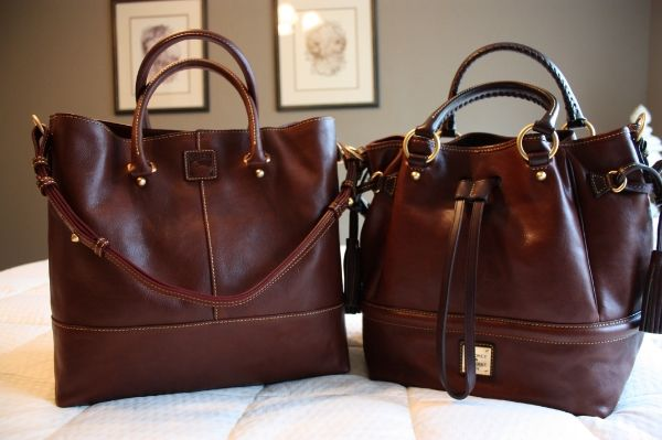 Dooney & Bourke Florentine handbags in chestnut:  the Chelsea Shopper and the Buckley.