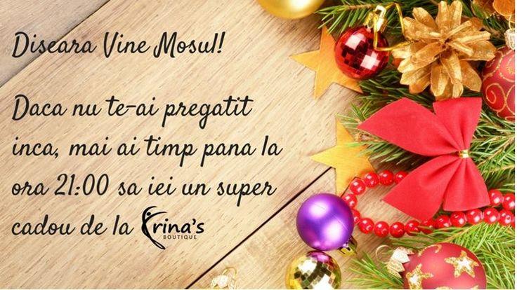 Stim ca nu avem intotdeauna timp pentru a lua cadouri, sau le luam pe ultima suta de metri.  Tocmai de aceea, La Irina's Boutique avem program chiar si in ziua de Ajun, pana la ora 21:00!  Te asteptam in magazin (Str. Mihai Eminescu, nr. 17, Bucuresti) pentru a gasi cadoul perfect cu -20% REDUCERE! #irinasboutique #ajun #craciun #cadouri #reduceri