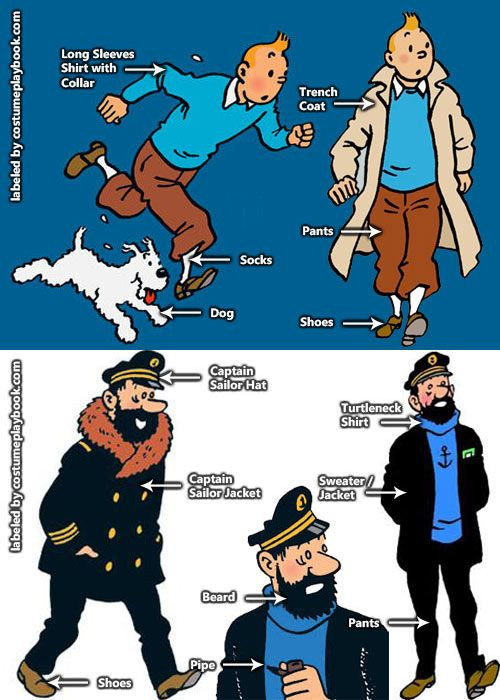 Dress up as Tintin, Captain Haddock, and other memorable characters from Adventures of Tintin! Full guide at: http://costumeplaybook.com/comic-books/2954-adventures-tintin-costumes/