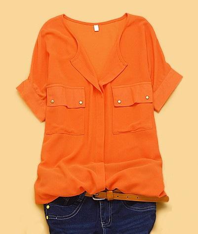 sheer orange, gold buttons: Orange V Neck, Fashion, Style, Short Sleeve, Chiffon Shirt, Shorts, Chiffon Pockets, Sleeve Chiffon, Concealed Placket