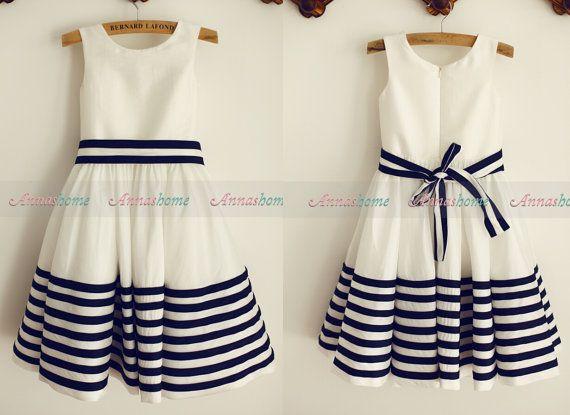 Ivory Navy Blue Stripes Taffeta Flower Girl Dress Kids Children Toddler Dress Junior Bridesmaid Dress for Wedding