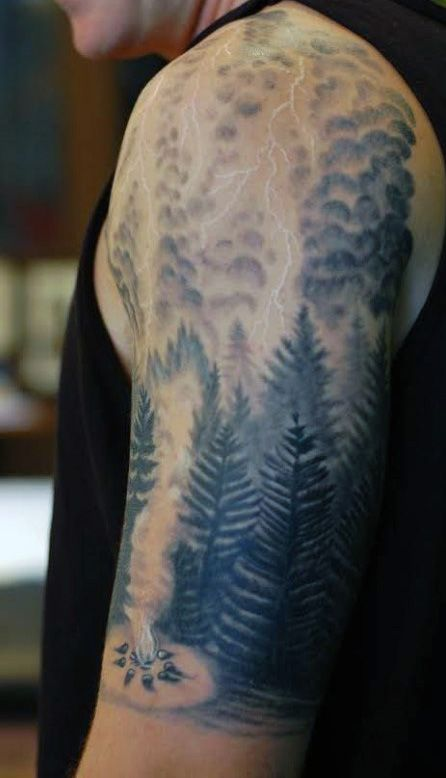 Pine tree camping forest lightning tattoo for men hawks for Higher ground tattoo