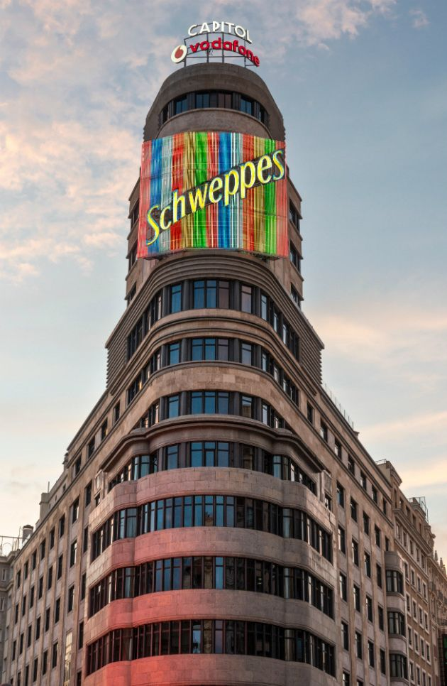 Schweppes Sign On Edificio Carrion Building In Madrid Spain