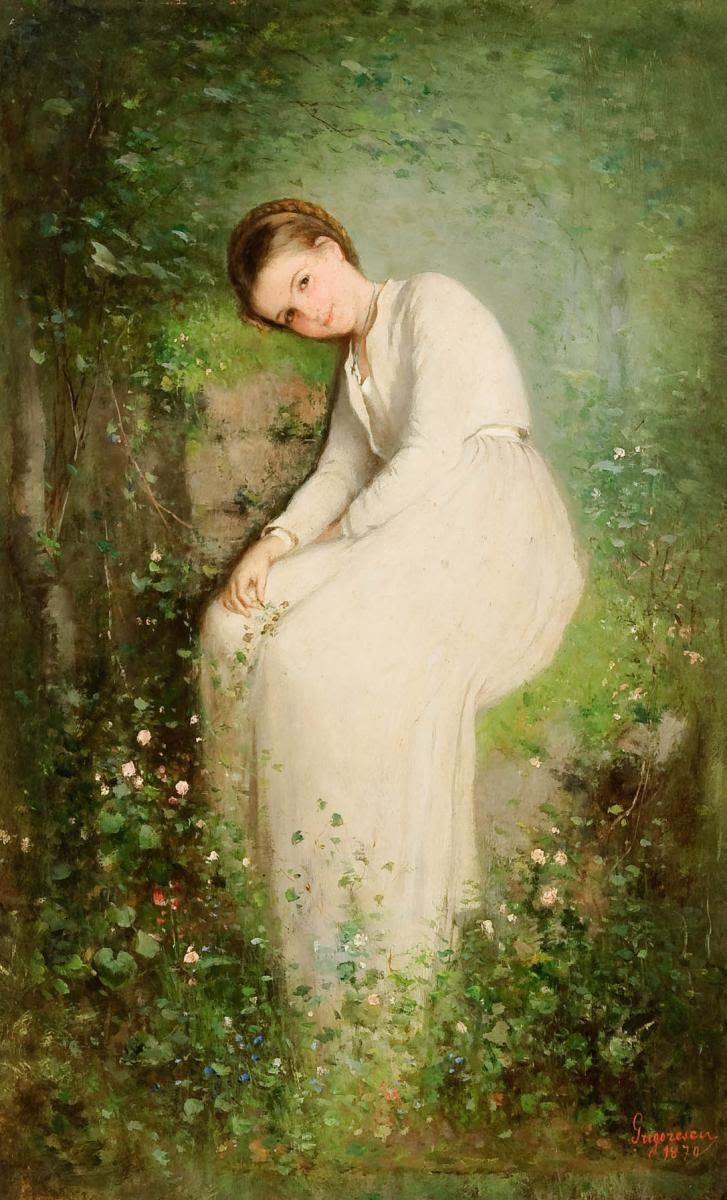 Nicolae Grigorescu : A Flower Among Flowers 1870 He was one of the talented romanian artists(and he is from a poor family)