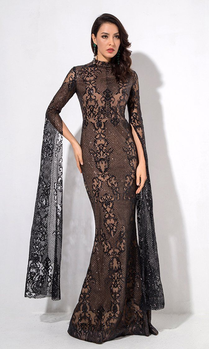 36ff101c1c8 Longing For Love Black Lace Glitter Extra Long Sleeve Mock Neck Bodycon  Mermaid Maxi Dress
