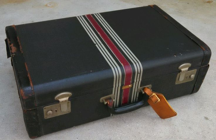 Vintage Warren Black Suitcase With Strips And Leather Trim Shabby Chic