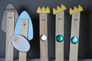"Nathan is going to LOVE these!! ""The three wise men carrying gold, frankincense and mercy."" Nativity Popsicle Stick Puppets"