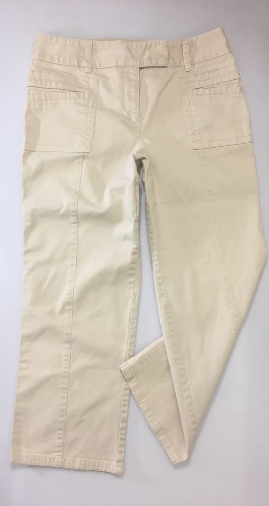 LOFT Womens Khaki Cropped Laura Pants Size 8 / Stretch Cotton 2 Pocket Capri #LOFT #CaprisCropped