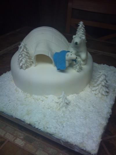 Polar bear baby shower cake By ctirella on CakeCentral.com