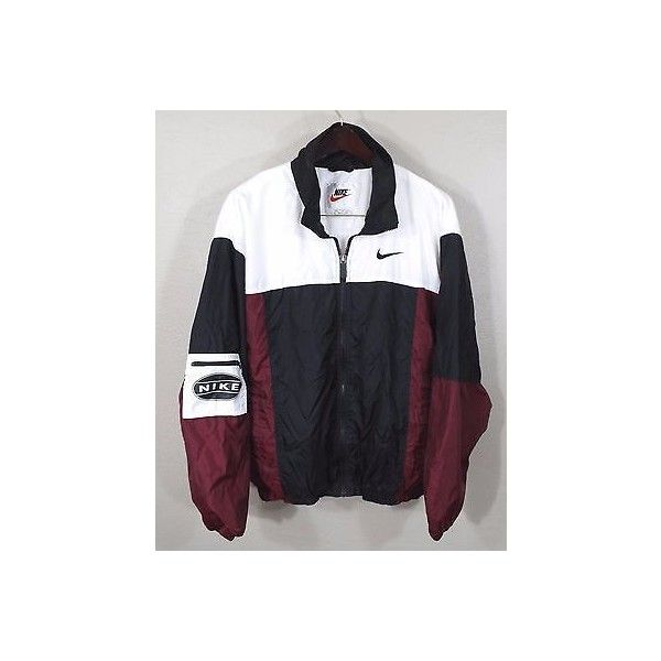 Vintage Nike Windbreaker Jacket Large Red White Blk 90s Retro Og Hip... ❤ liked on Polyvore featuring activewear, activewear jackets, nike sportswear, nike activewear, vintage sportswear and nike