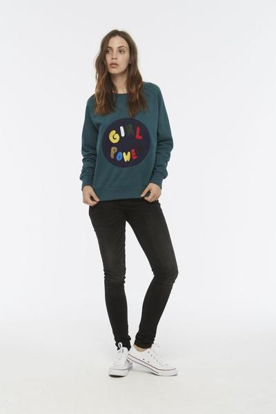 GIRL POWER embroidered Sweatshirt in Deep Teal – ELEVEN PARIS