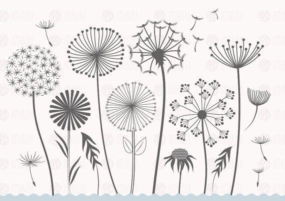 Dandelion vector, dandelion clipart, flower clipar…