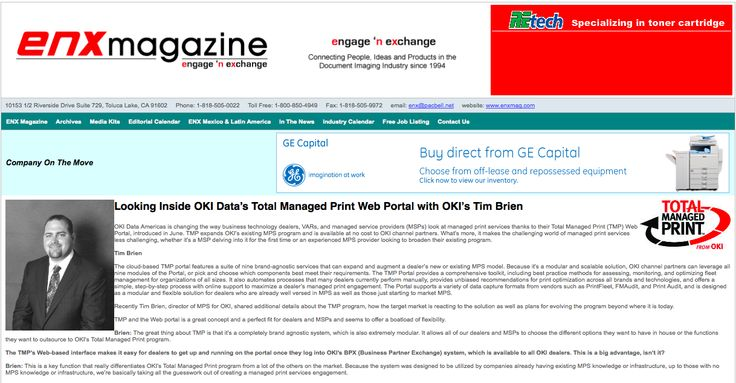 "Gap Intelligence in ENX Magazine ""Looking Inside OKI Data's Total Managed Print Web Portal with OKI's Tim Brien"""