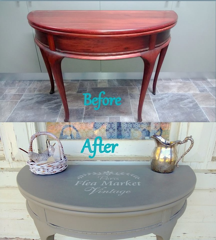 French Linen Chalk Paint® decorative paint by Annie Sloan on a small hall table | By Rustic Boutique http://rusticboutique.com.au/