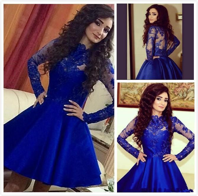 Find More Homecoming Dresses Information about High Neck Long Sleeve Royal Blue Homecoming Dresses Sheer Back Satin Lace Appliques Short Blue Prom Dresses robe de bal courte,High Quality dress furniture,China dress tutu Suppliers, Cheap dress patterns prom dresses from Top Bridal on Aliexpress.com
