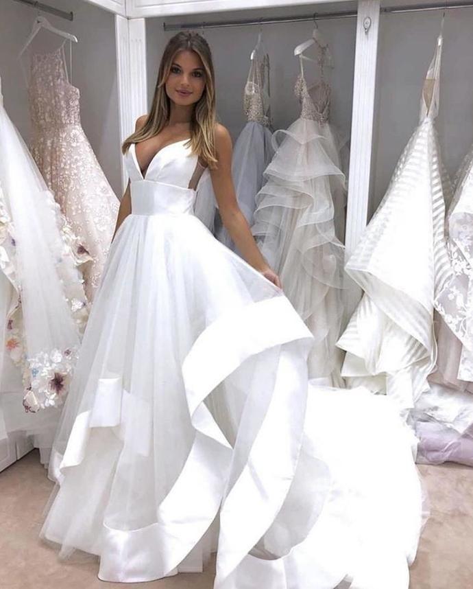 Wedding Dresses A Line Tiered Satin Organza Ruffles Deep V Neck Plus Size 93b6ad5b1fae